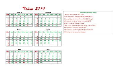 Januari - Juni (Kalender 2014)